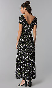 Image of maxi-length casual floral-print party dress. Style: BLH-DD1329 Back Image