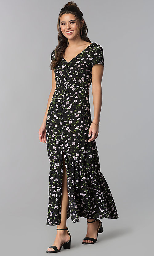 Image of maxi-length casual floral-print party dress. Style: BLH-DD1329 Front Image
