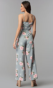 Image of silver ankle-length floral-print v-neck jumpsuit. Style: BLH-DP1522 Back Image