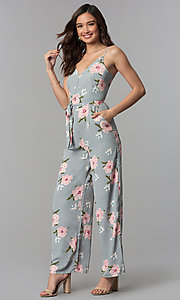 Image of silver ankle-length floral-print v-neck jumpsuit. Style: BLH-DP1522 Front Image