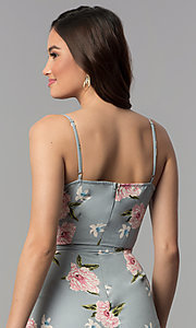 Image of silver ankle-length floral-print v-neck jumpsuit. Style: BLH-DP1522 Detail Image 2