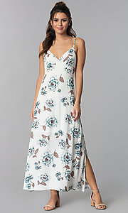 Image of casual floral-print maxi-length dress with open back. Style: BLH-BD1620 Front Image
