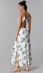 Image of casual floral-print maxi-length dress with open back. Style: BLH-BD1620 Back Image