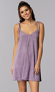 Image of short lavender suede shift casual party dress. Style: BLH-BD5119 Front Image