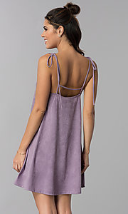 Image of short lavender suede shift casual party dress. Style: BLH-BD5119 Back Image