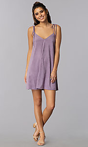 Image of short lavender suede shift casual party dress. Style: BLH-BD5119 Detail Image 3