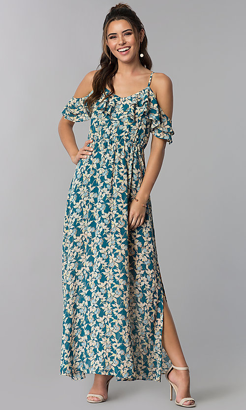 Image of teal blue cold-shoulder casual maxi dress with print. Style: BLH-BD1606 Front Image
