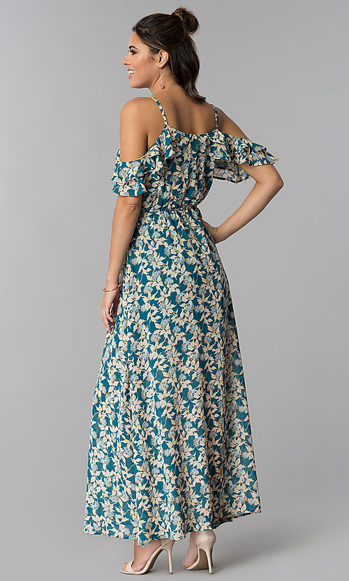 Image of teal blue cold-shoulder casual maxi dress with print. Style: BLH-BD1606 Back Image