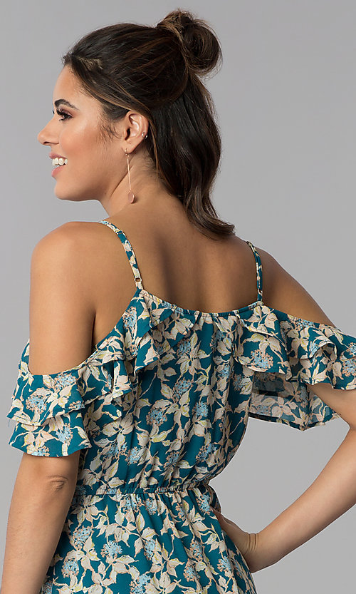 Image of teal blue cold-shoulder casual maxi dress with print. Style: BLH-BD1606 Detail Image 2