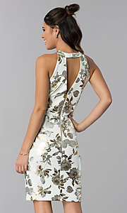 Image of short foil-embossed floral-print wedding guest dress. Style: SD-S286471 Back Image