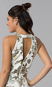 Image of short foil-embossed floral-print wedding guest dress. Style: SD-S286471 Detail Image 2