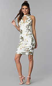 Image of short foil-embossed floral-print wedding guest dress. Style: SD-S286471 Detail Image 3