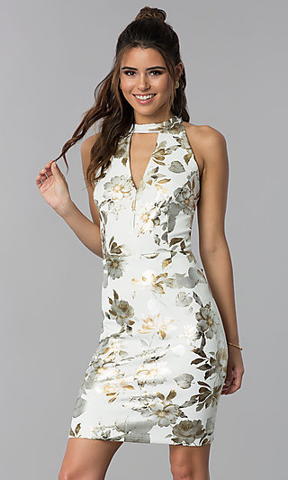 Short Foil-Embossed Floral-Print Wedding Guest Dress