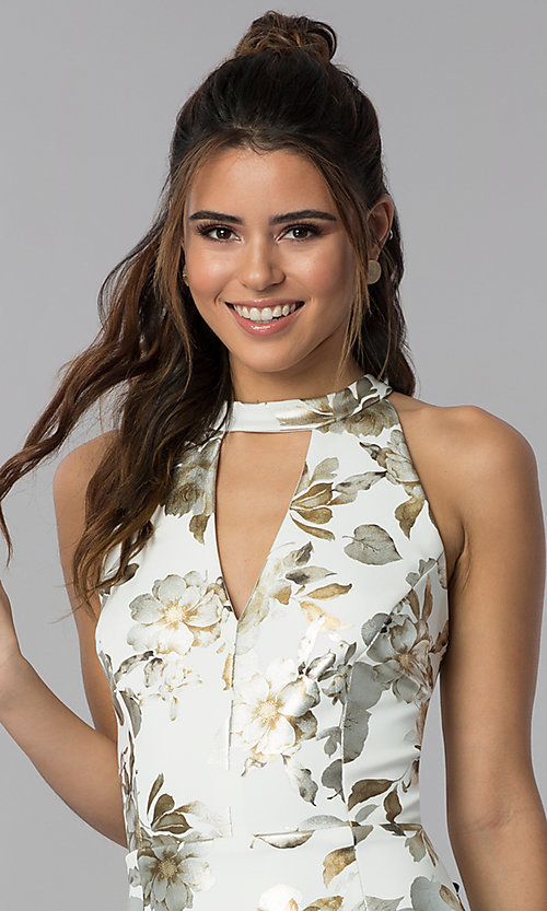 Image of short foil-embossed floral-print wedding guest dress. Style: SD-S286471 Detail Image 1