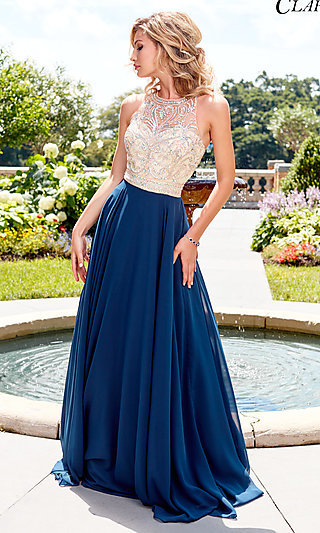 Long Illusion-Sweetheart Prom Dress with Beading