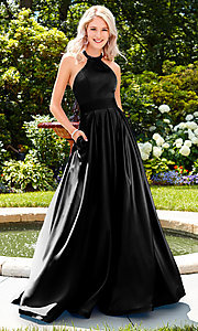 Image of Clarisse long satin prom dress with pockets. Style: CLA-3489 Detail Image 2