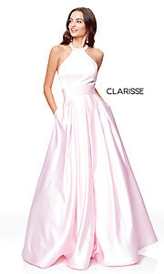 Image of Clarisse long satin prom dress with pockets. Style: CLA-3489 Detail Image 4