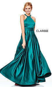 Image of Clarisse long satin prom dress with pockets. Style: CLA-3489 Detail Image 5