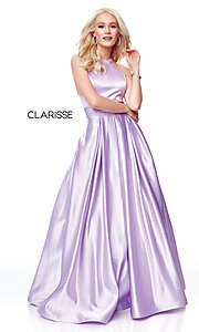 Image of Clarisse long satin prom dress with pockets. Style: CLA-3489 Detail Image 6