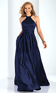 Image of Clarisse long satin prom dress with pockets. Style: CLA-3489 Detail Image 3