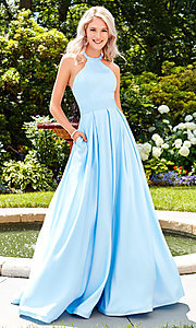 Image of Clarisse long satin prom dress with pockets. Style: CLA-3489 Front Image