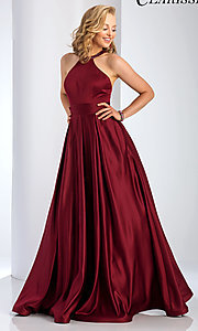 Image of Clarisse long satin prom dress with pockets. Style: CLA-3489 Detail Image 1