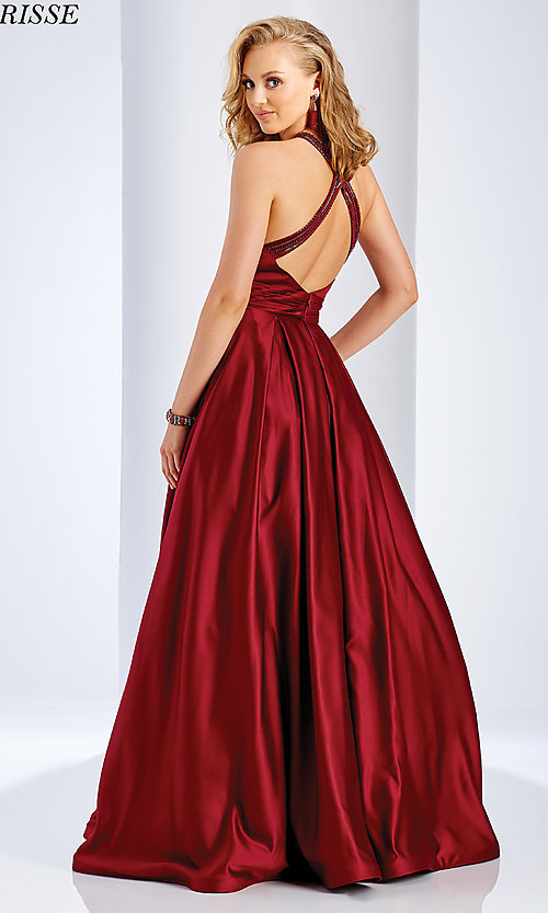 Image of Clarisse long satin prom dress with pockets. Style: CLA-3489 Back Image