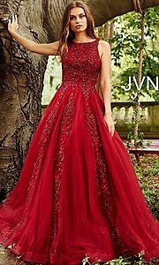 Image of JVN by Jovani ball-gown-style beaded prom dress. Style: JO-JVN-JVN59046 Front Image