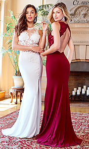 Image of open-back Clarisse prom dress with sheer bodice. Style: CLA-3572 Front Image