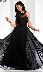 Image of long high-neck prom dress with embroidery. Style: CLA-3528 Detail Image 1