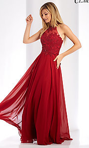 Image of long high-neck prom dress with embroidery. Style: CLA-3528 Front Image