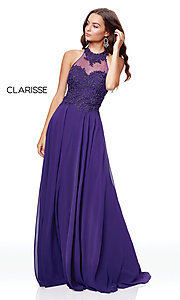 Image of long high-neck prom dress with embroidery. Style: CLA-3528 Detail Image 6