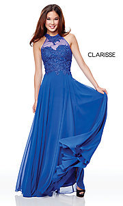 Image of long high-neck prom dress with embroidery. Style: CLA-3528 Detail Image 4