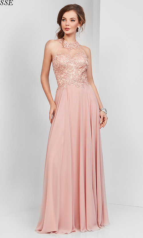 Image of long high-neck prom dress with embroidery. Style: CLA-3528 Detail Image 3