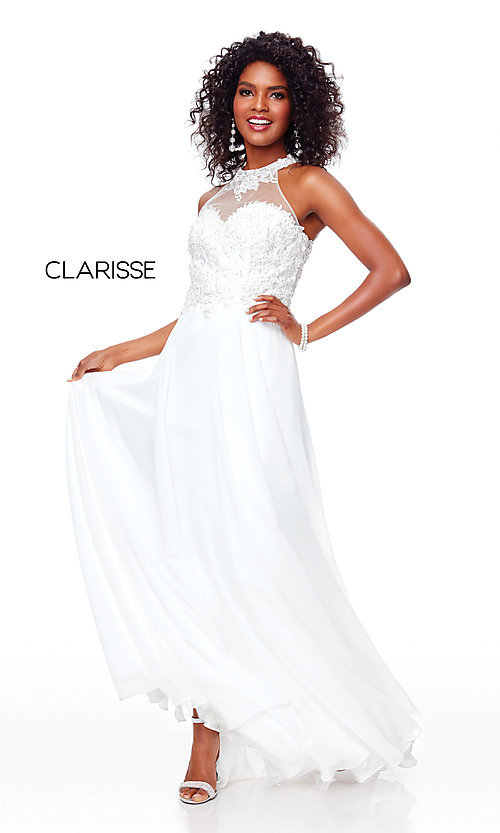 Image of long high-neck prom dress with embroidery. Style: CLA-3528 Detail Image 5