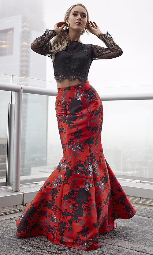 Red Print Long Formal Dress With Sleeves Promgirl