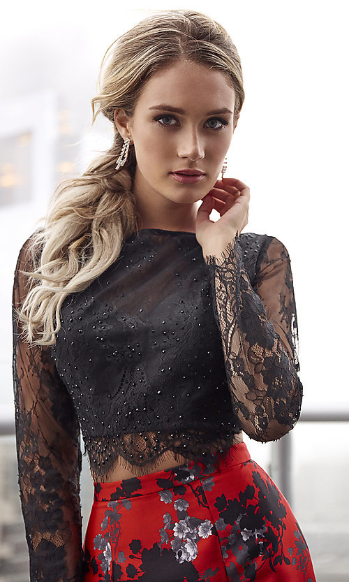 Image of long red print formal dress with long sleeves. Style: CLA-4808 Detail Image 1