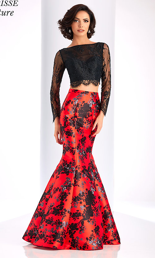 Image of long red print formal dress with long sleeves. Style: CLA-4808 Detail Image 2
