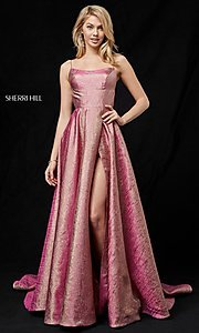 Long Rose Gold A-Line Prom Dress with a Train