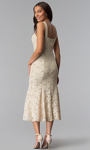 Image of midi-length sequin-lace mother-of-the-bride dress. Style: SF-8863 Back Image