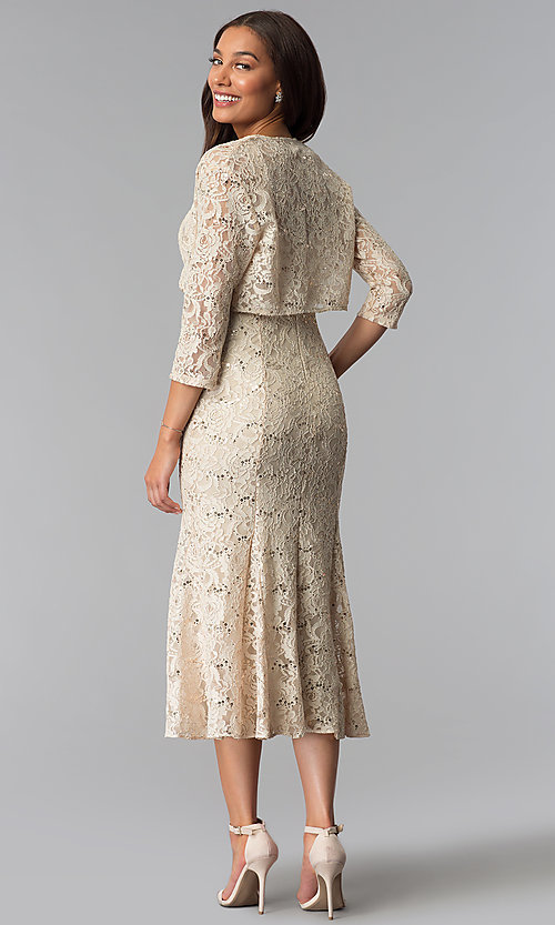 Image of midi-length sequin-lace mother-of-the-bride dress. Style: SF-8863 Detail Image 1