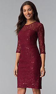 Image of sequin-lace 3/4-sleeve mother-of-the-bride dress. Style: SF-8855 Detail Image 1