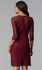 Image of sequin-lace 3/4-sleeve mother-of-the-bride dress. Style: SF-8855 Back Image
