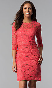 Image of sequin-lace 3/4-sleeve mother-of-the-bride dress. Style: SF-8855 Detail Image 2