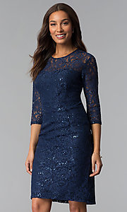 Image of sequin-lace 3/4-sleeve mother-of-the-bride dress. Style: SF-8855 Front Image