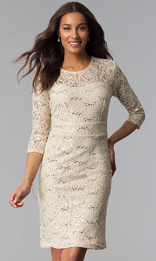 Image of sequin-lace 3/4-sleeve mother-of-the-bride dress. Style: SF-8855 Detail Image 3
