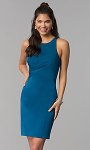Image of corset-tie-back short sheath homecoming dress. Style: DJ-A3690 Back Image