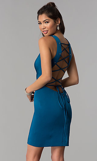 Corset-Tie-Back Short Sheath Homecoming Dress