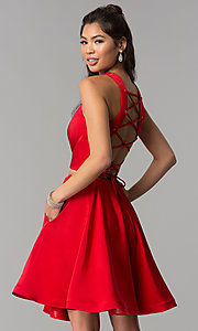 Image of short two-piece homecoming dress by Dave and Johnny. Style: DJ-A3688 Back Image