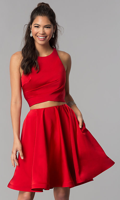 Image of short two-piece homecoming dress by Dave and Johnny. Style: DJ-A3688 Front Image